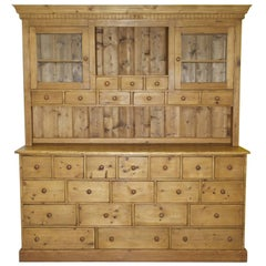 Very Large Solid Pine 28-Drawer Antique Merchants Welsh Dresser Bank of Drawers