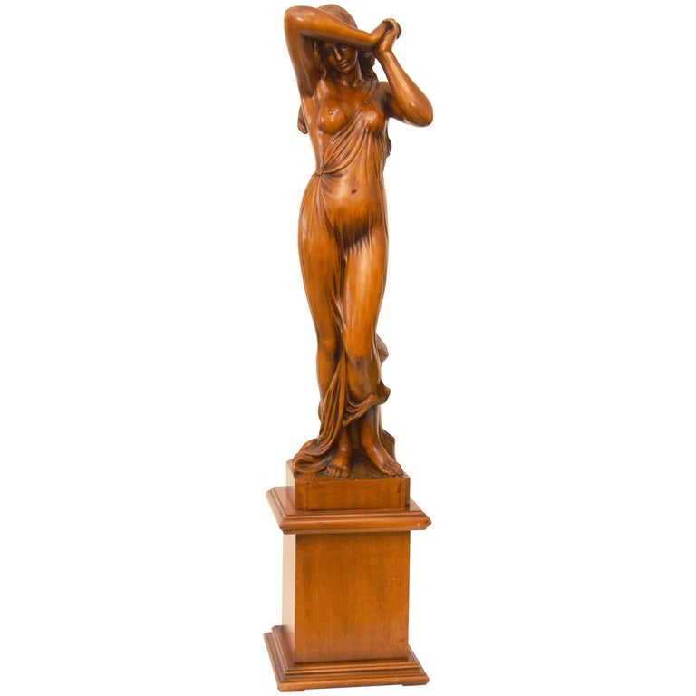 Huge Art Nouveau Sculpture in Wood of a Semi Naked Female