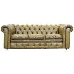 Chesterfield Leather Sofa Olive Green Three-Seat Couch Retro Vintage
