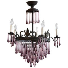 1920s French Waterfall Chandelier with Contemporary Amethyst Glass Teardrops