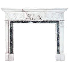 Important George III Style Carved White Marble Fireplace English, circa 1900