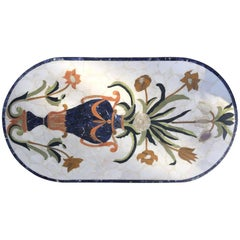 Marble Italian Inlaid Garden Table Midcentury
