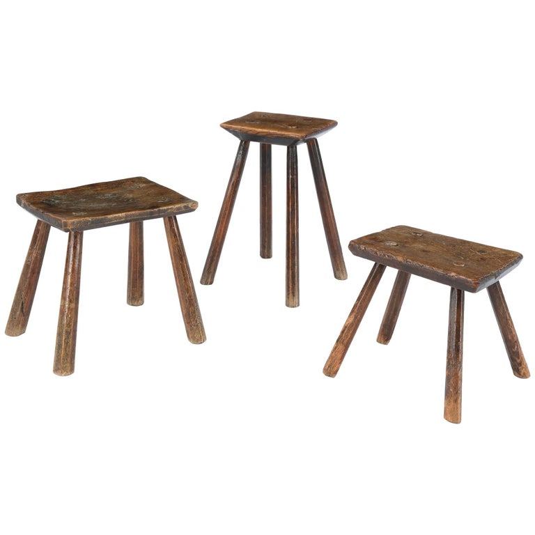 Set Of Three 19th Century Rustic Stitch Stools For Sale At