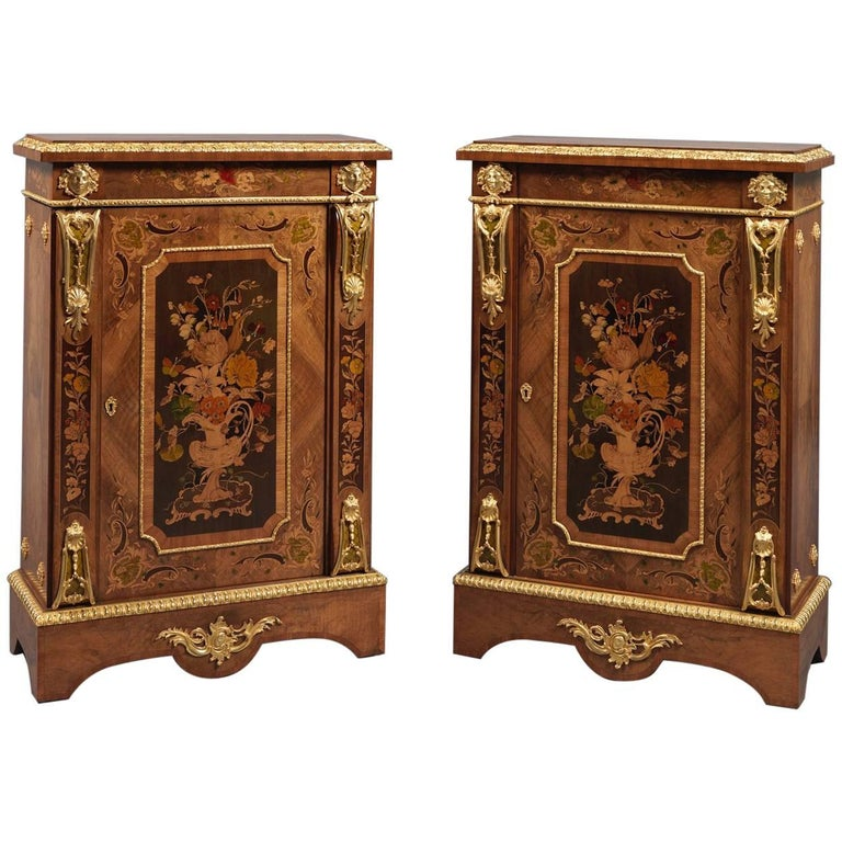 Fine Pair of Gilt Bronze-Mounted and Marquetry Inlaid Walnut Pier Cabinets