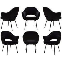 Saarinen Executive Arm Chairs, Black Edition, Set of Six