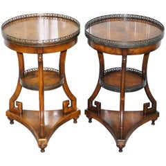 Pair of Theodore Alexander Three-Tiered Walnut Lamp End Wine Side Tables
