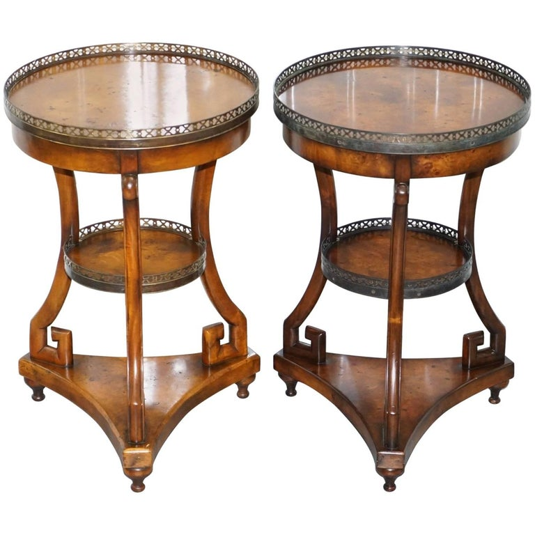 Pair of theodore alexander three tiered walnut lamp end wine side pair of theodore alexander three tiered walnut lamp end wine side tables for sale aloadofball Image collections
