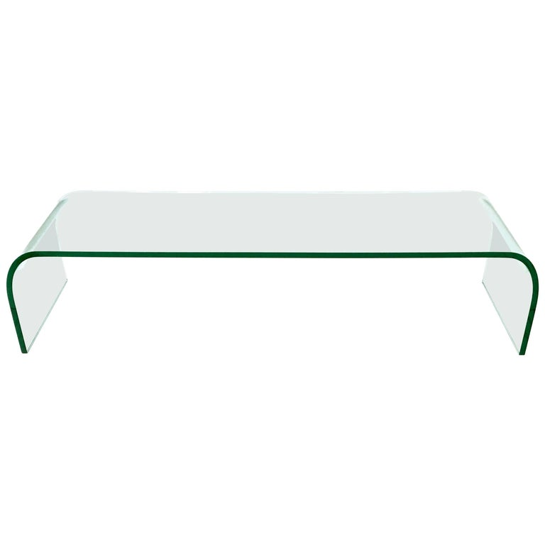 Aquamarine Glass Bench/Coffee Table by Pietro Chiesa for Fontana Arte, 1970s