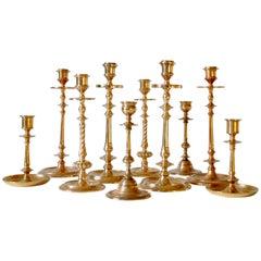 Set of Ten Scandinavian Art Deco Solid Bass Candleholders