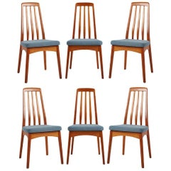 Six Koefoed Hornslet Dining Chairs with Reupholstered Cushions, circa 1960s