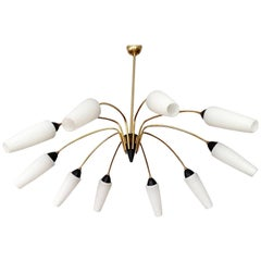 Large 10-Lights Brass Glass Sunburst Sputnik Chandelier, 1960s