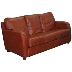 Lovely Aged Chestnut Brown Leather Three-Seat Sofa Great Color and Comfortable