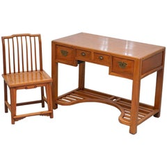 Vintage Chinese Ming Style Teak Desk and Matching Chair Lovely Rare Pair Office