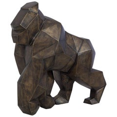 Kong Gorilla Sculpture in Brushed Brass 2017