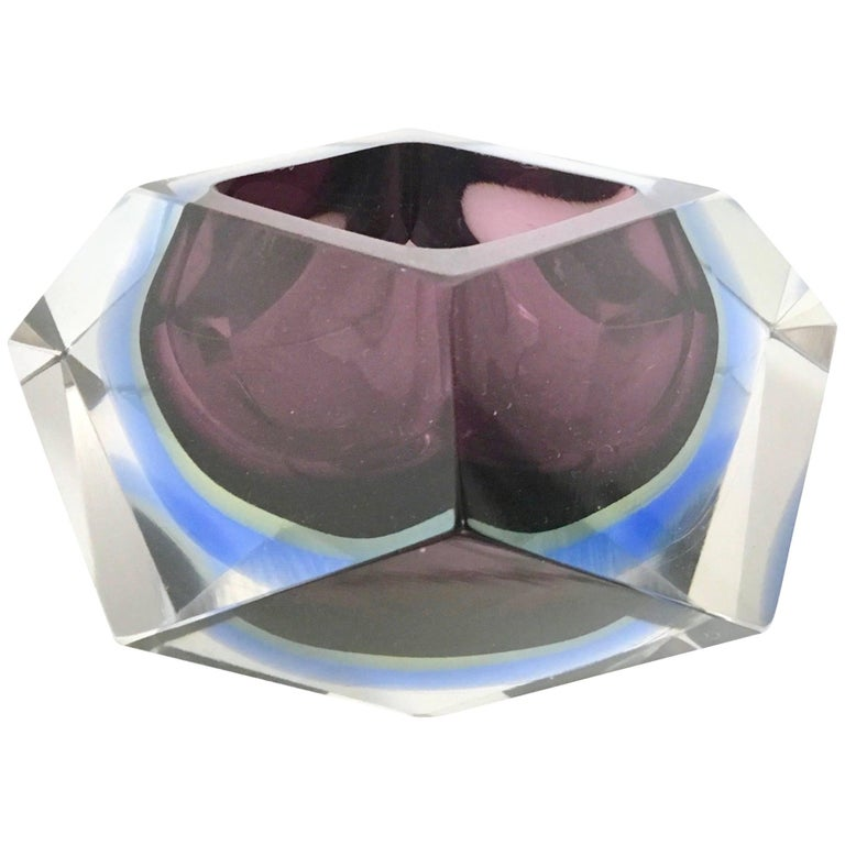 Sommerso Glass Ashtray by Flavio Poli Seguso, Italy, 1960s For Sale