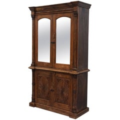 Large Chunky Solid Hand-Carved Wood Vintage Bookcase Cabinet Cupboard Bookcase