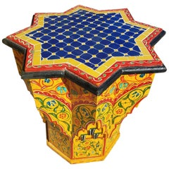 Kenza Hand-Painted Hand-Carved Moroccan Side Table Mosaic Top