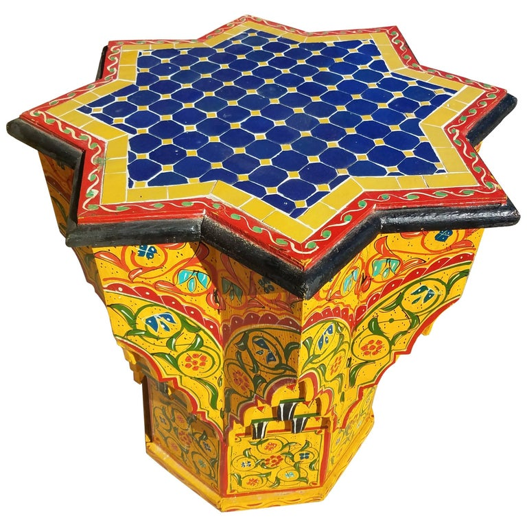 Kenza hand painted hand carved moroccan side table mosaic for Moroccan hand painted furniture