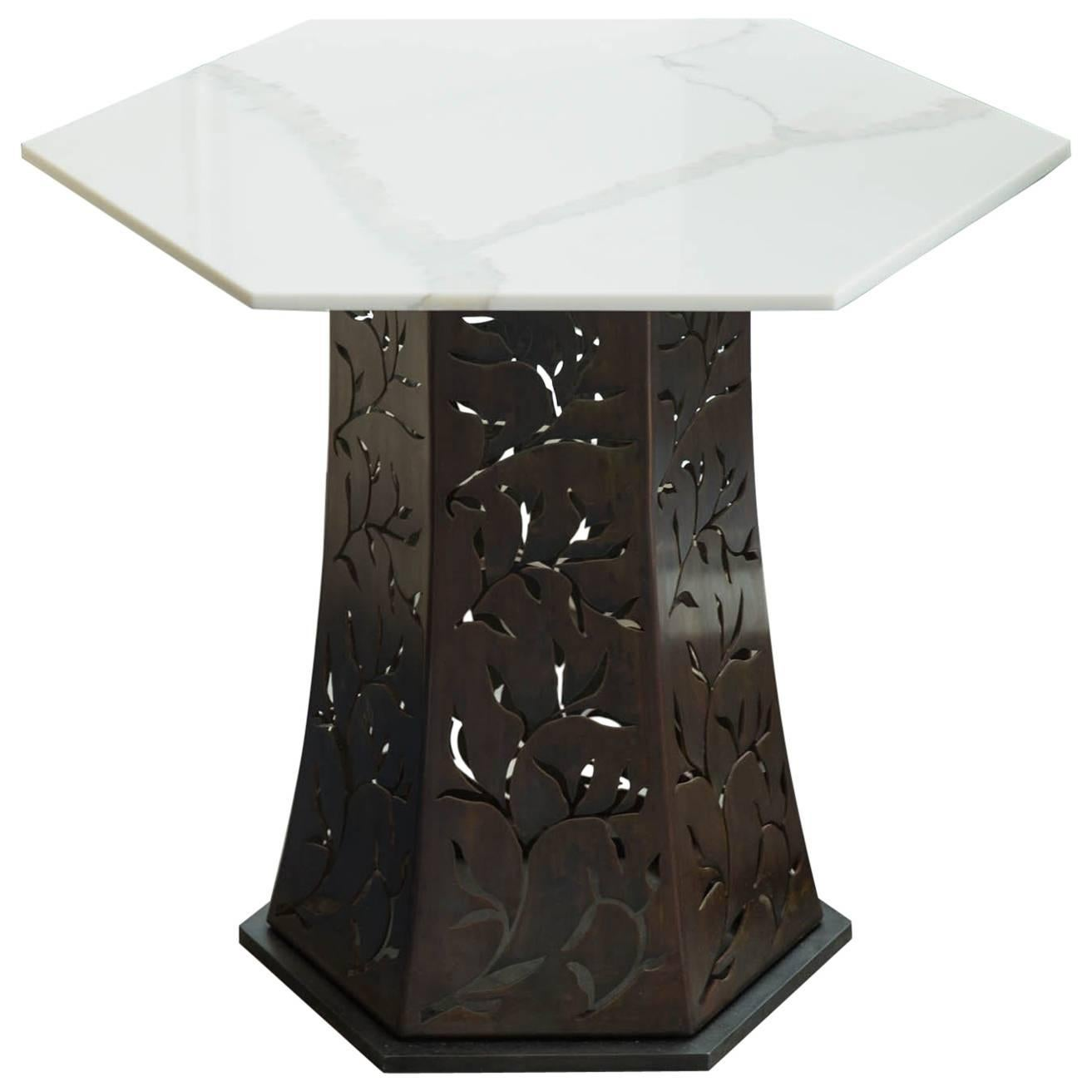Carrara Marble-Topped Side Table by Gregory Clark