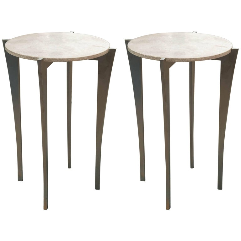 Pair Of Stainless Steel And Stone Side Tables By Gregory