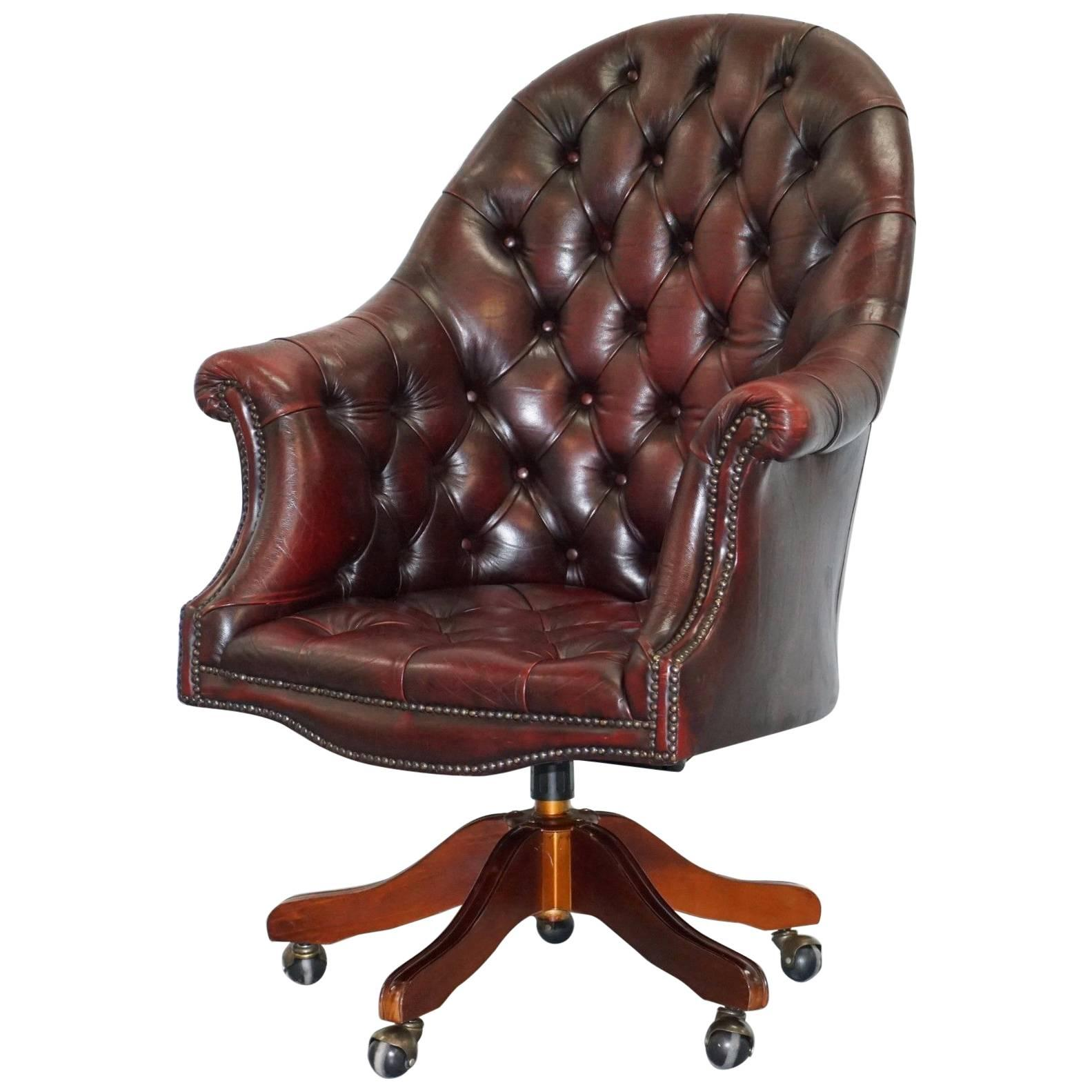 Stunning Chesterfield Directors Oxblood Leather Executive Captains Office  Chair For Sale