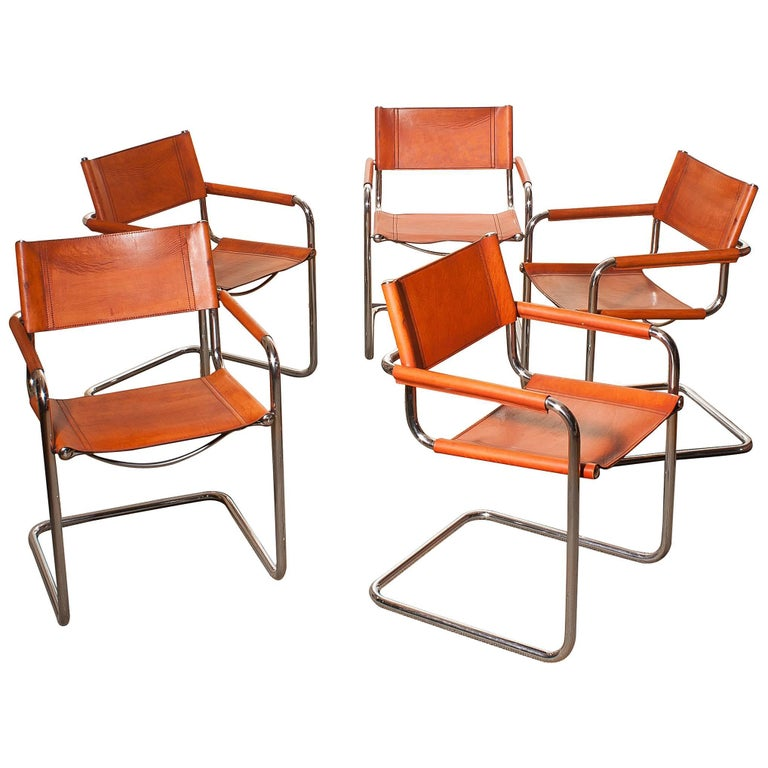 1970s set of five 39 tubular steel 39 dining chairs by mart for Interni furniture
