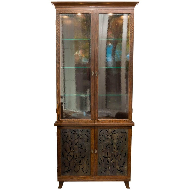 Custom Wengewood Corner Cabinet with Patinated Steel Doors by Gregory Clark