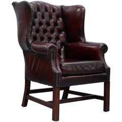 Restored Hand Dyed 1960s Oxblood Leather Chesterfield Georgian Wingback Armchair