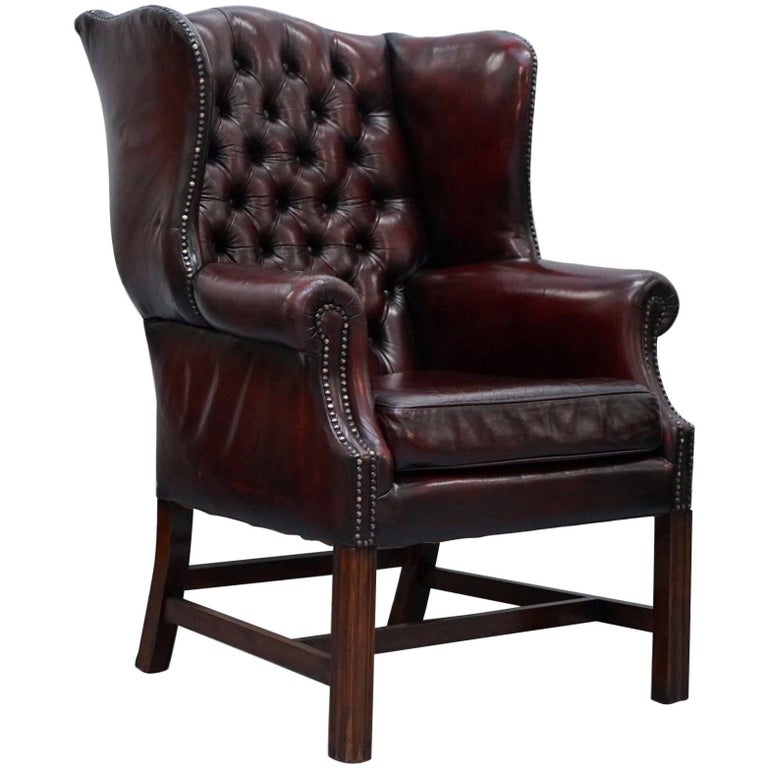 1960s Missoni Wingback Chair At 1stdibs: Restored Hand Dyed 1960s Oxblood Leather Chesterfield
