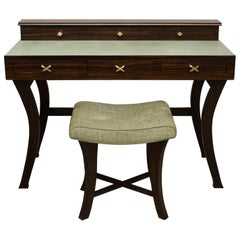 Leather and Ebony Wood Ladies Writing Desk and Bench by Gregory Clark