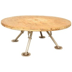 Cable Spool Top Table with Satellite Legs