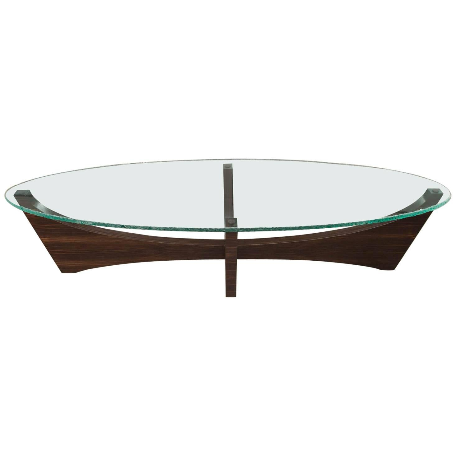 Surfboard Shaped Glass and Ebony Cocktail Table by Gregory Clark