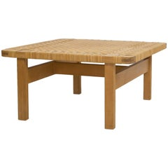 Square Børge Mogensen Oak and Cane Bench
