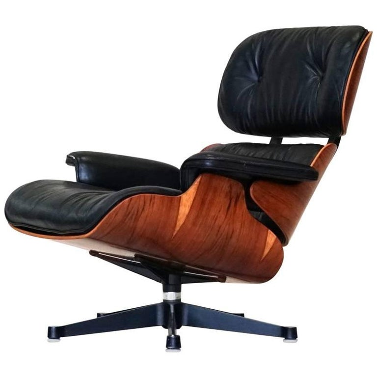 charles eames original lounge chair herman miller leather rosewood armchair at 1stdibs. Black Bedroom Furniture Sets. Home Design Ideas