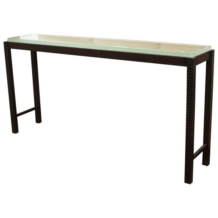 Hand-Forged Steel and Cast Glass Console Table by Gregory Clark