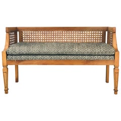 Midcentury Cane Bench with Newly Upholstered Seat