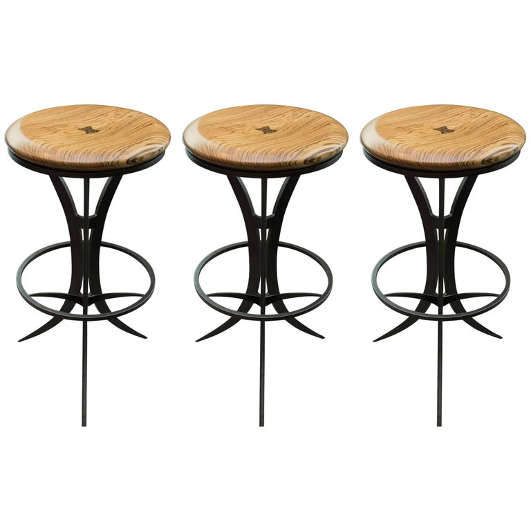 Zebrawood and Forged Steel Bar Stools by Gregory Clark