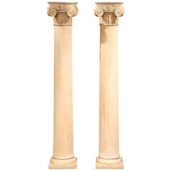 Tall Pair of 19th Century French Carved Painted Light Oak Columns