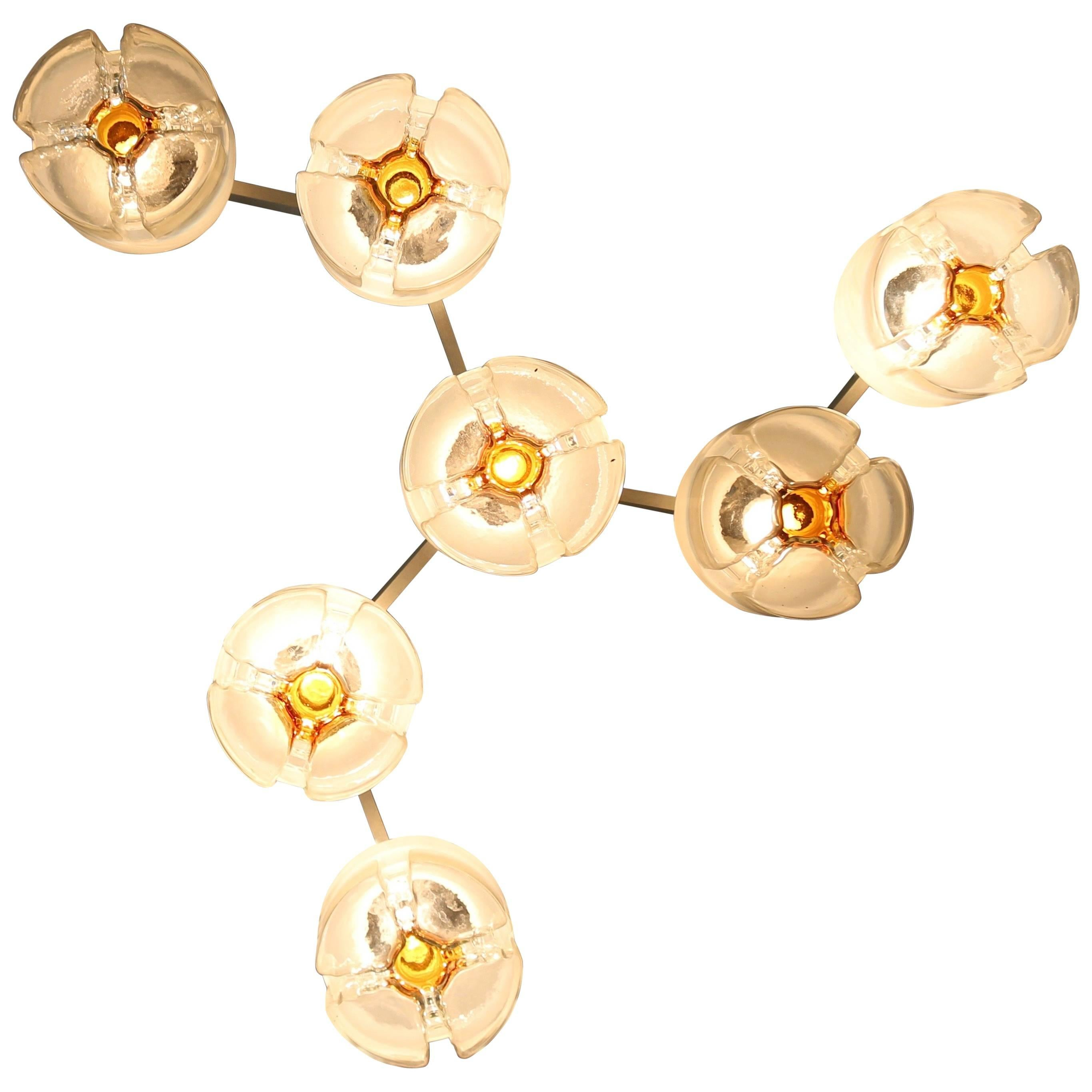 Blown Glass and Metal Chandelier Produced by Mazzega, Italy, 1970s