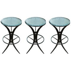 Set of Three Cast Glass and Patinated Steel Barstools by Gregory Clark