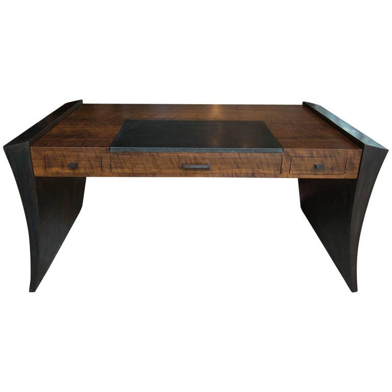 Modern Walnut and Granite Executive Desk by Gregory Clark