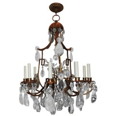 Fine Transitional Pagoda Bagues Jansen Nine-Light Gilt Rock Crystal Chandelier
