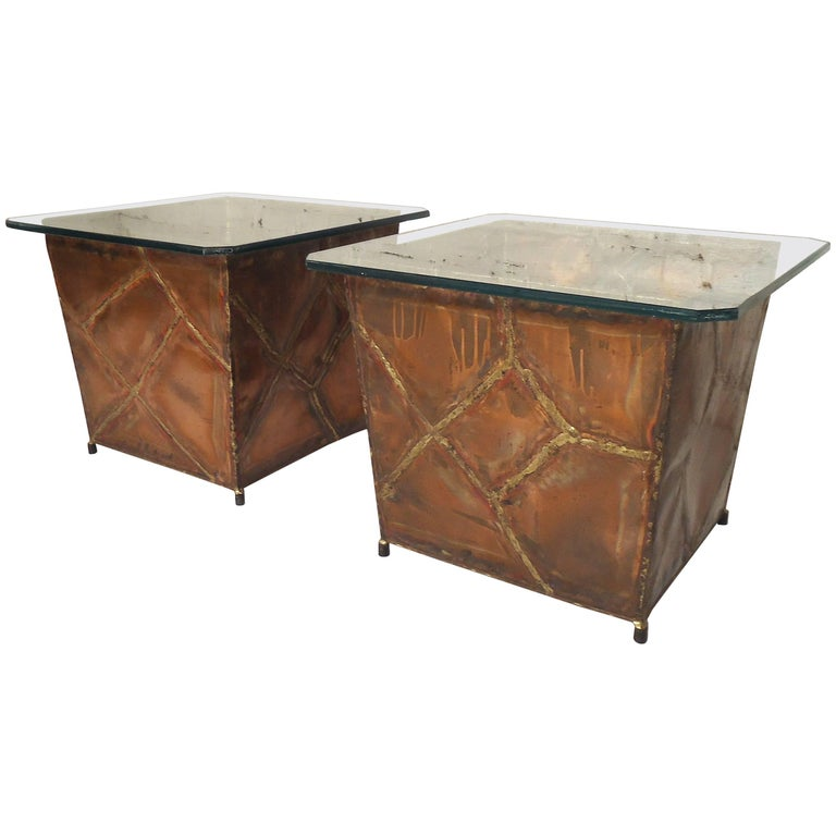 Copper Glass Side Tables For Sale