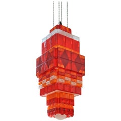 Stuart Haygarth Red and Orange Tail Light Chandelier
