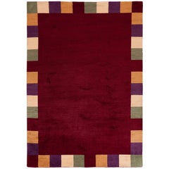 Red Rug with Checkered Border