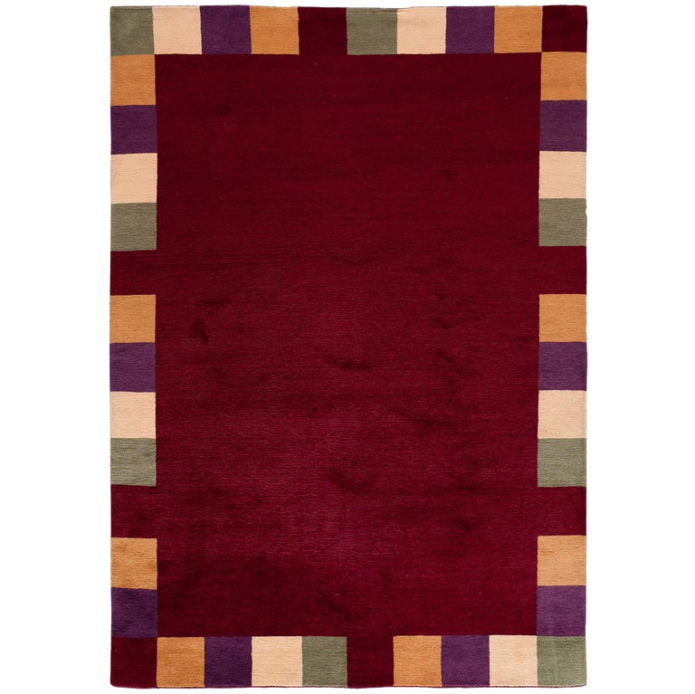 Red And White Checkered Rug: Red Rug With Checkered Border For Sale At 1stdibs