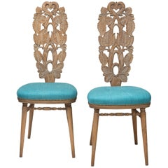 Giovanni Gariboldi, Attributed, Pair of Italian Carved and Cerused Oak Chairs