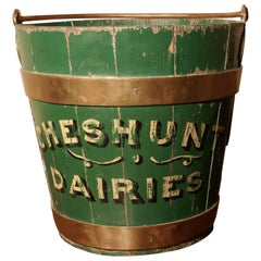 19th Century Painted and Brass Dairy Bucket or Milk Pail