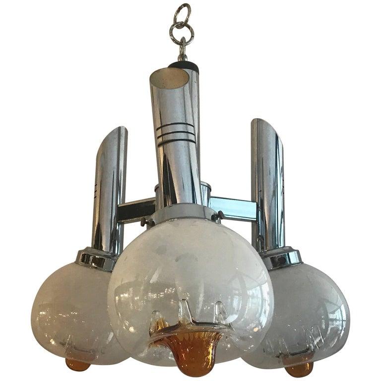 Midcentury Italian Murano Glass and Chrome Chandelier