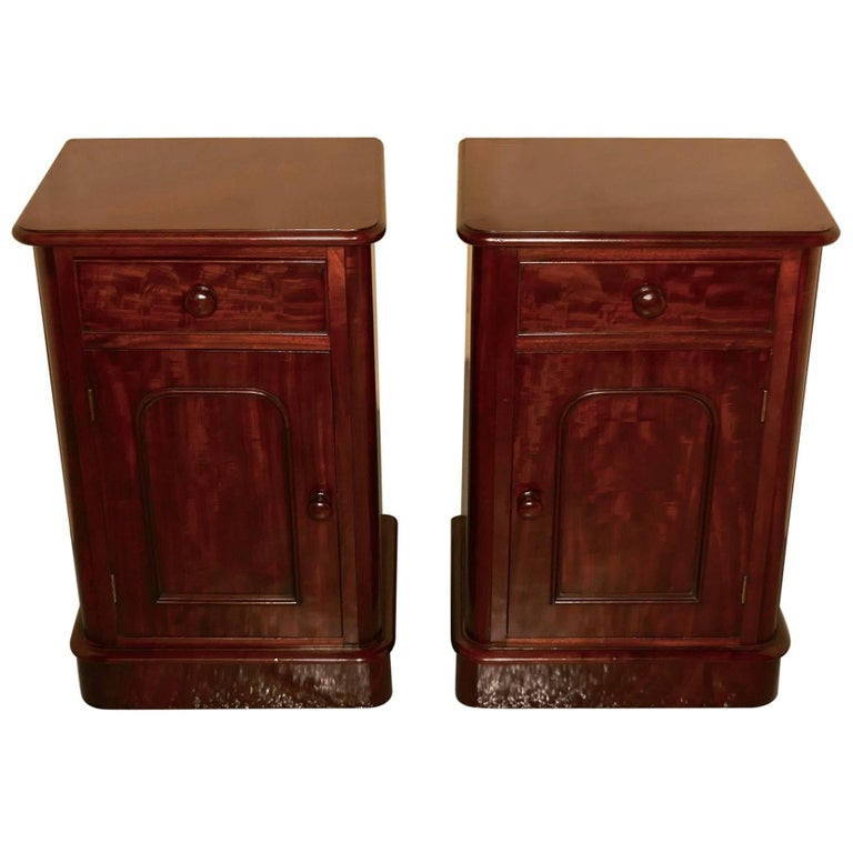 Pair of Victorian Mahogany Bedside Cupboards For Sale